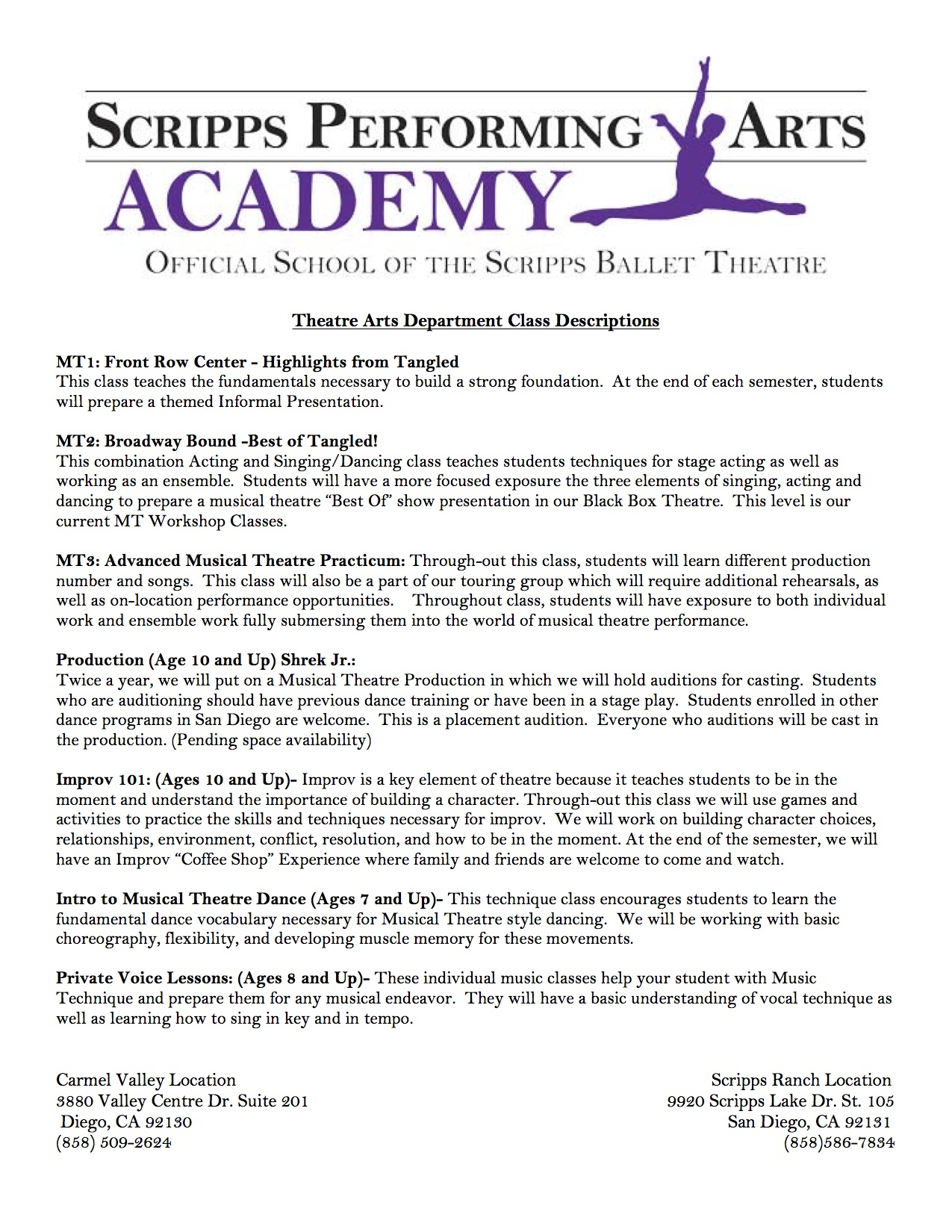 Theatre Depatment - Scripps Performing Arts Academy